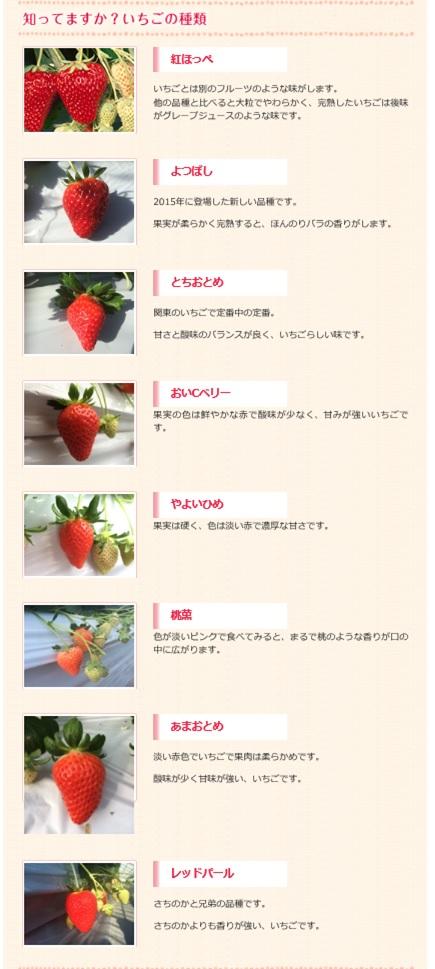 すぎやまいちご園で楽しめるイチゴ7種類の紹介画像キャプチャ(写真)