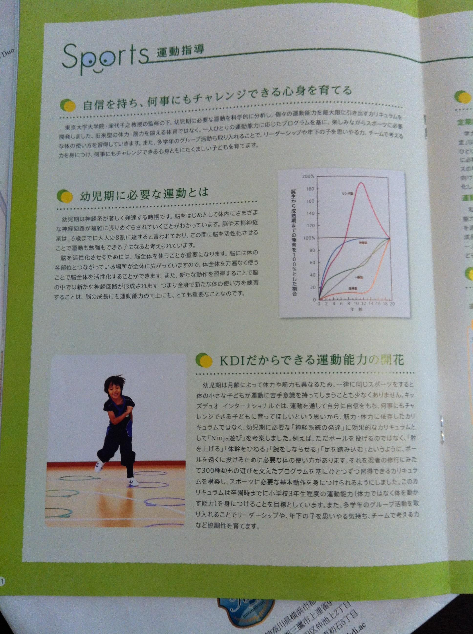 キッズデュオ(kids duo)の説明会で配られたパンフレット11ページ目の画像キャプチャ