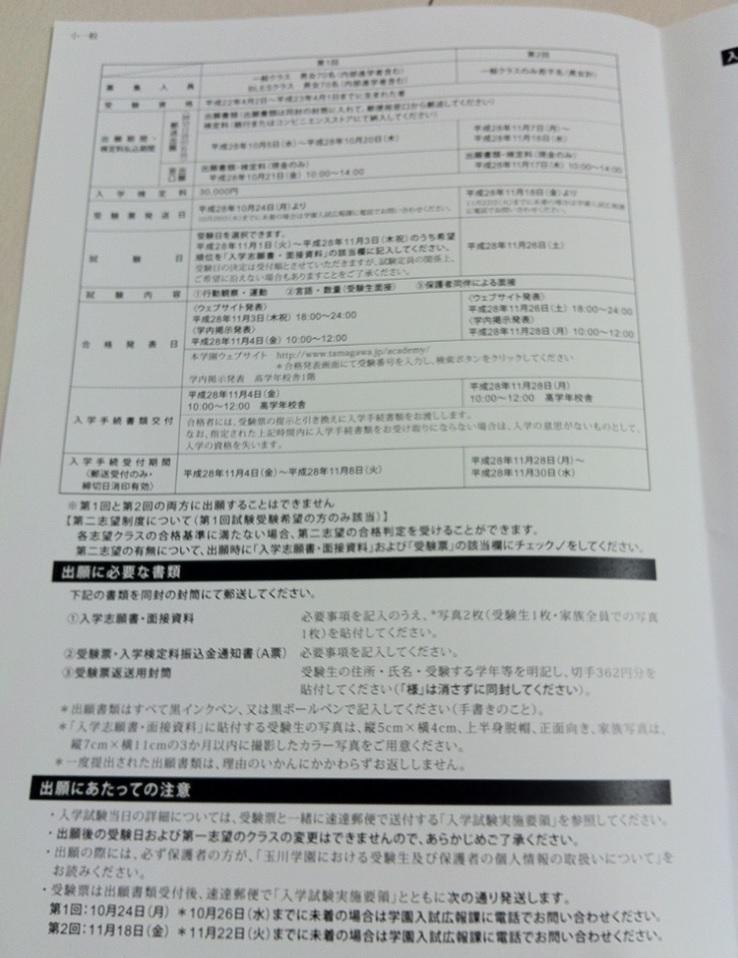 玉川学園小学校の入試要項画像キャプチャ(ページ2)