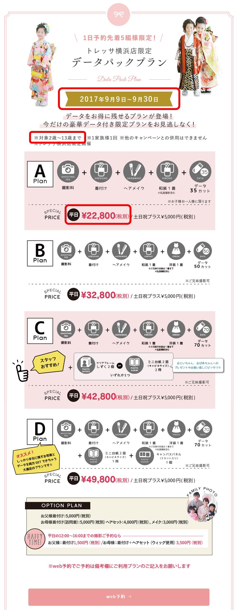 トレッサ横浜店限定キャンペーンの詳細(料金表)イメージ画像