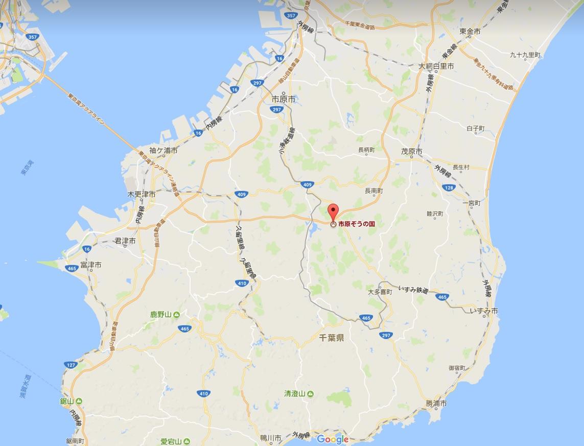 ぞうの国の位置(google map)画像