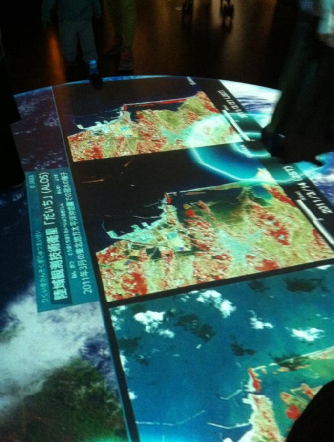 国立科学博物館の地面に写されたプロジェクションマッピングの画像
