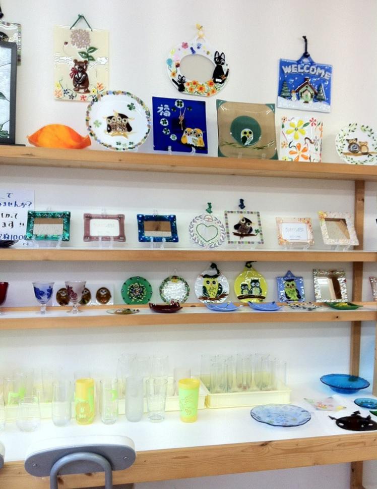 ガラスアートのお店の展示物