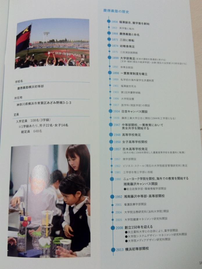 慶應義塾横浜初等部のパンフレット(16ページ目)の画像