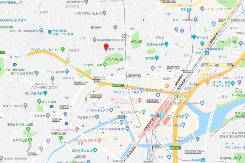 精華小学校へのアクセス(地図)画像