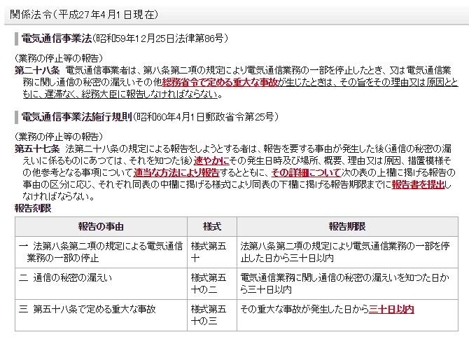 総務省公式ホームページ「重大な事故の報告」の報告期限などに関する画像