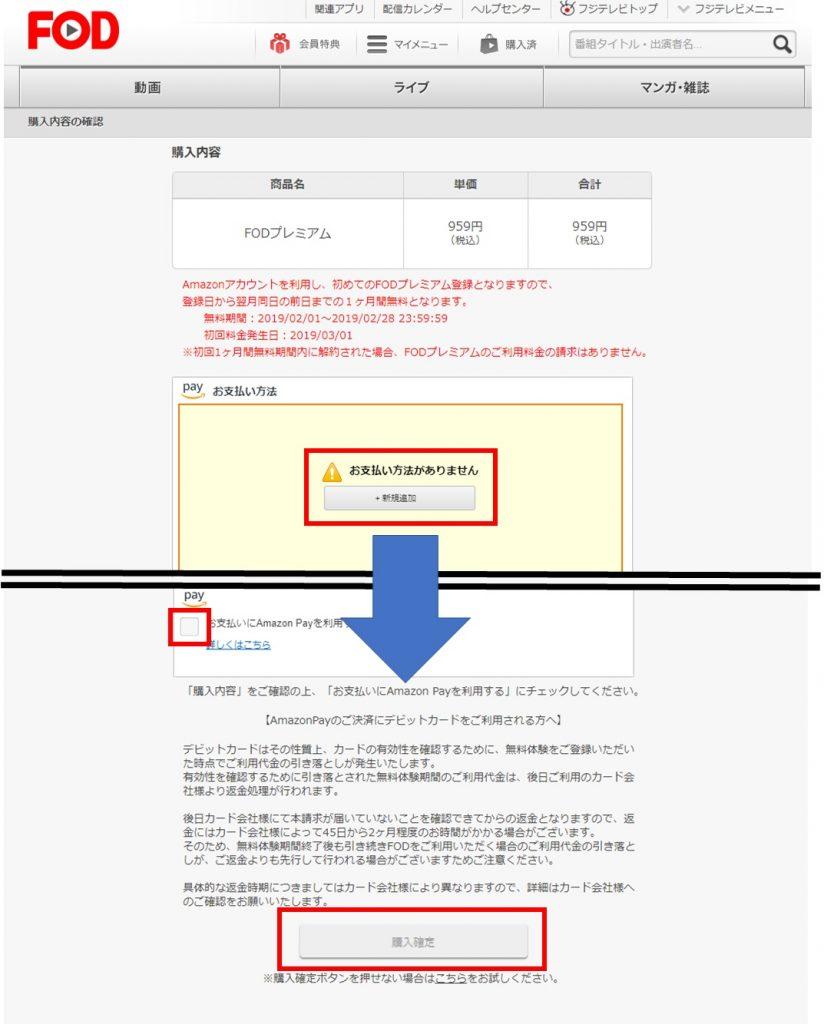 FODプレミアムの一ヶ月無料申込方法【月額コース登録画面の次】購入内容確認画面の画像