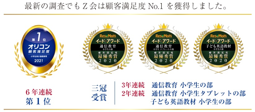 Z会の口コミ調査No1獲得実績