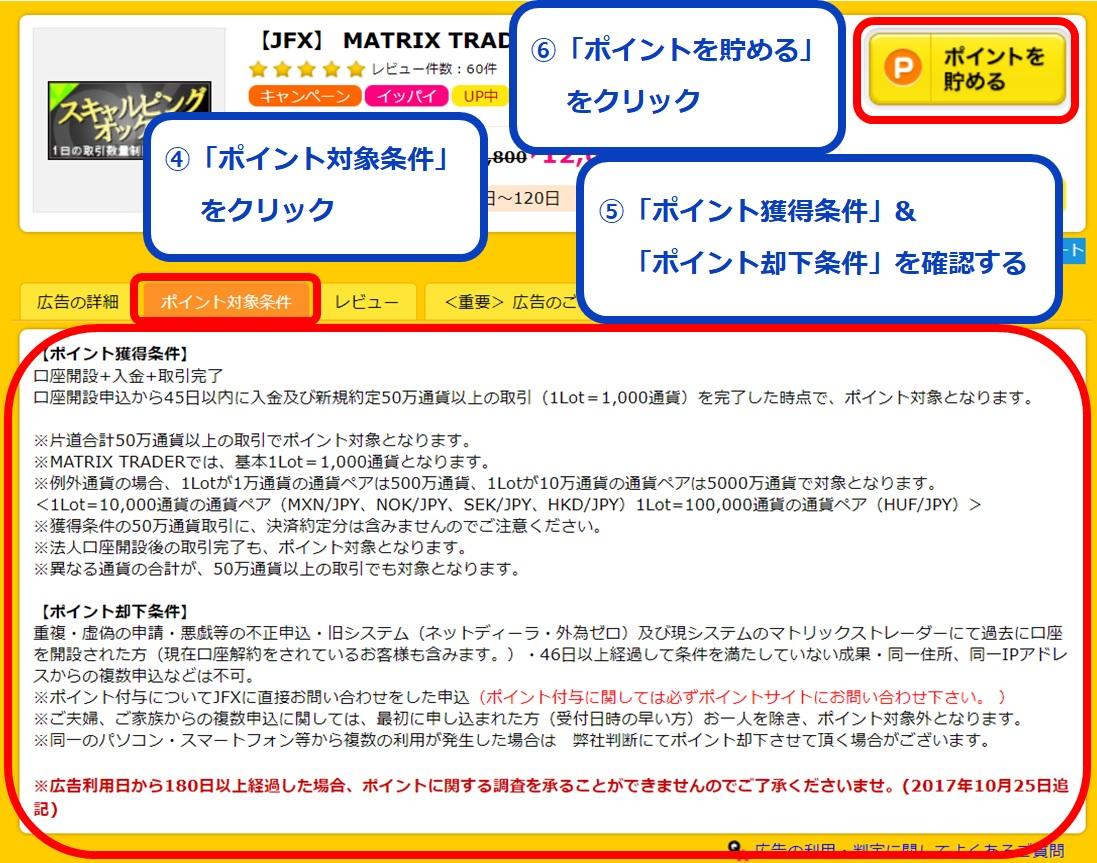 【JFX&ハピタスのキャンペーンで二重取り】JFXに無料登録する方法④~⑥ポイント獲得条件をチェックしてJFXの公式ページへ遷移した際のイメージ画像