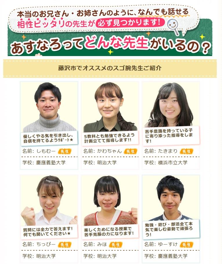 家庭教師のあすなろにおける藤沢市の講師紹介