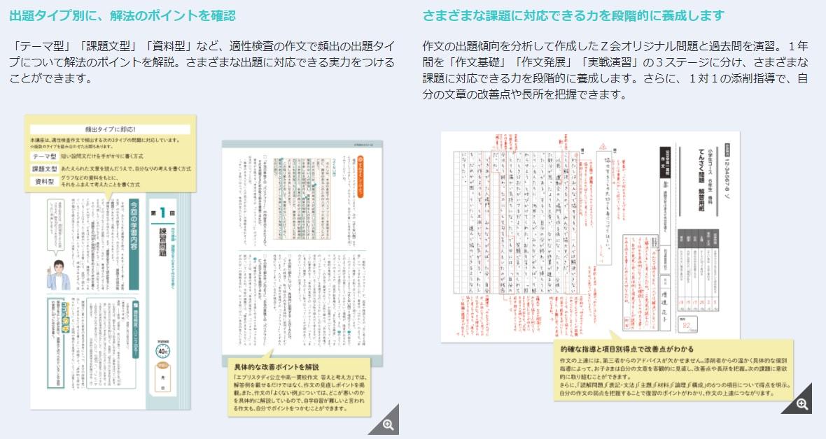 Z会の公立・都立中高一貫校作文の学習イメージ