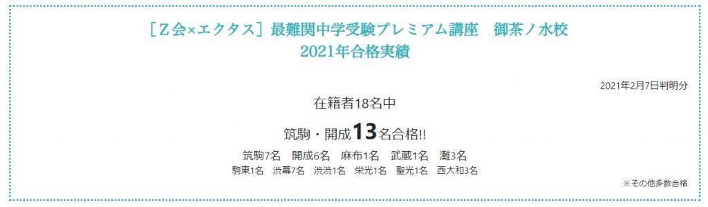 Z会×エクタス最難関中学受験プレミアム講座 御茶ノ水校 2021年合格実績