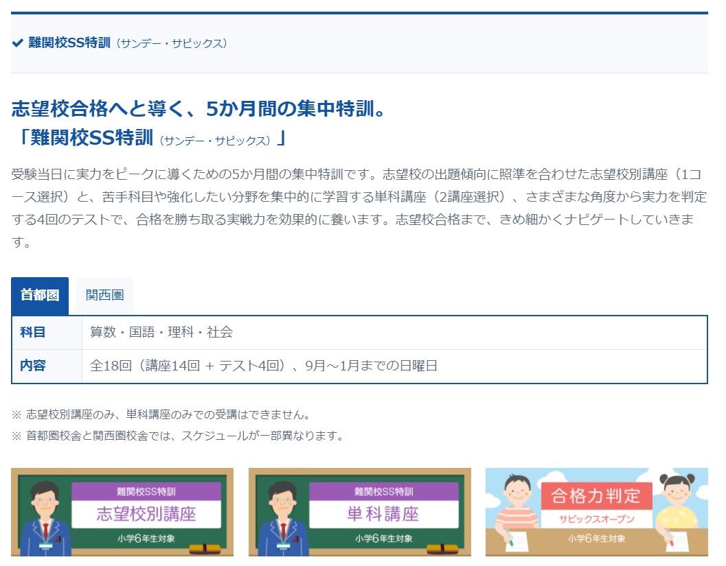 サピックス 難関校SS特訓(サンデー・サピックス)